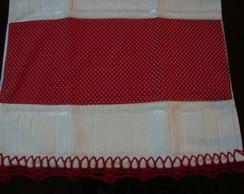 Toalha Lavabo bico croch� vermelho