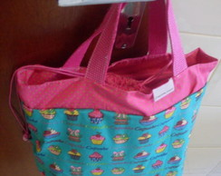 Lunch Bag cupcakes verde e rosa