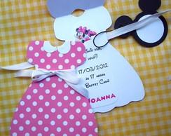 Convite da Minnie Pink Vestido + Tag