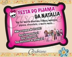 Convite Almofada Monster High Turma