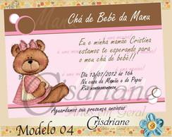 Convite ch� de beb� marrom e rosa