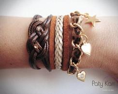 kit de pulseiras marrom