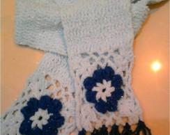 Cachecol Azul com Flor
