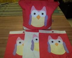 Bolsa + envelopes Coruja