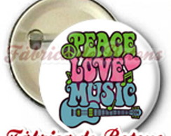 BOTON 2,5cm PEACE LOVE AND MUSIC