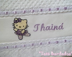 Toalha Infantil Hello Kitty-Branco/Lil�s