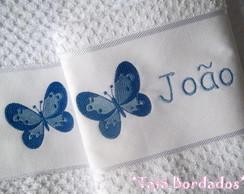 Jogo de Toalhas Borboleta - Branco/Azul