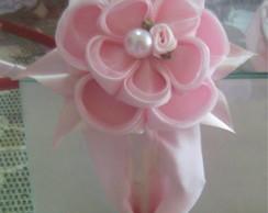 tiara de tecido com flor kanzashi!