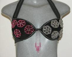Conjunto rosa e preto