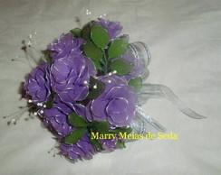 Buqu� de Noiva de Rosa Lil�s com Prata