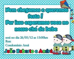 Convite ch� de beb� Gemeos