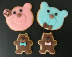Biscoito decorado-Urso Marrom Azul/Rosa