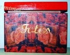Caixa fotos 4 albuns rosas vermelhas