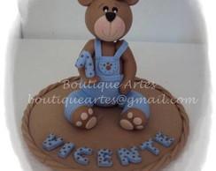 Topo de bolo urso marrom e azul