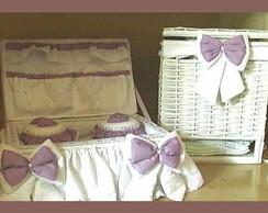 Ref 1738psb -Cesta Vime branca com lilas