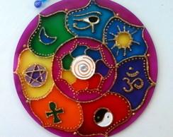 Mandala 7 amuletos em acr�lico