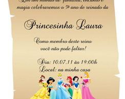 Convite Princesas Disney - Pergaminho