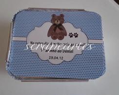 Mini marmitinha urso marrom com azul