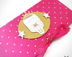 Convite Princesa Rosa & Dourado