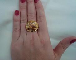 anel com banho dourado,strass