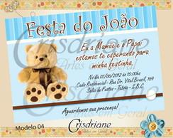 Convite ursinho marrom e azul