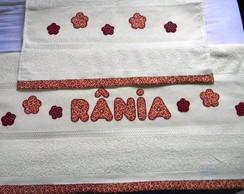 Jogo toalha bordada patch aplique vinho