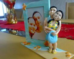 Porta Retrato em Mdf com Casal em biscuit