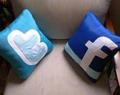 Almofadas Twitter e Facebook
