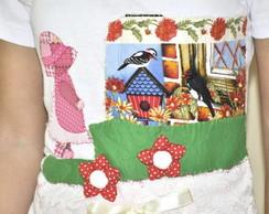 Camiseta-  Menina e Passarinhos