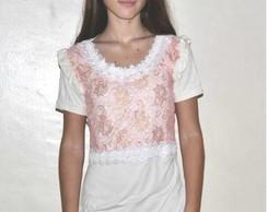 Camiseta  -  Renda Rosa