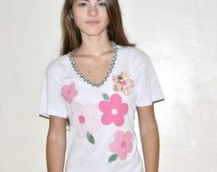 Camiseta -   5 Flores Rosa
