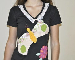 Camiseta -  Borboleta e Flor