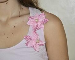Camiseta -   2 Flores Rosa Organza