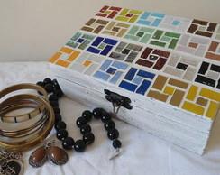 Caixa para bijuteria mosaico e p�tina