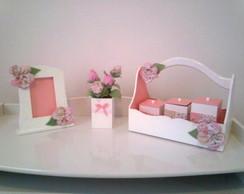 Kit Higiene Flor de Tecido / Rosa e Bran