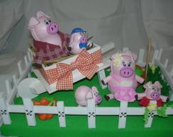 Enfeite Fazendinha:Fam�lia de Porquinhos