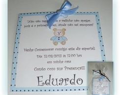 Convite Marrom e Azul - Urso