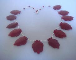 Colar de Jade rubi natural e prata 925