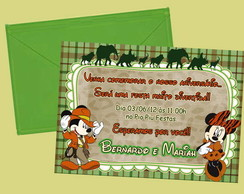 Convite Mickey e Minnie SAFARI I