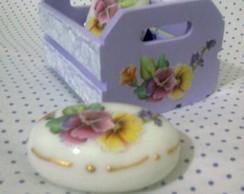 Kit Caixotinho lil�s para lavabo.