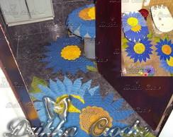 Jogo de Banheiro flor azul