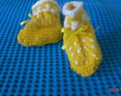 Sapatinho de Beb� amarelo com branco
