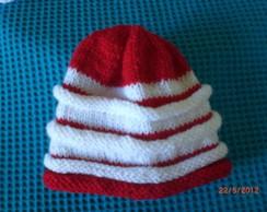 Touca de Tric� Vermelha com Branca