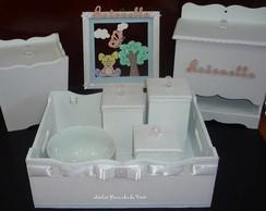 Kit Higiene Luxo Rosa Ch� 8 P�s Flocado