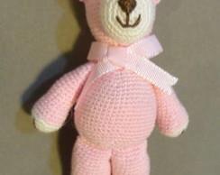 Pingente Cortina - Ursa rosa Crochet