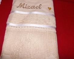 toalha de banho com barrado de croch�