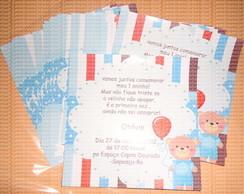 Convite urso azul, laranja e marrom