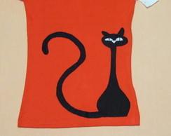 Camiseta em patchwork GATO DESCONFIADO