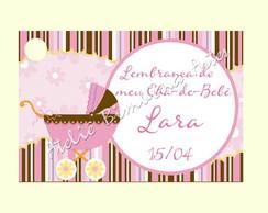 Tag Ch� de Beb�  marrom e rosa