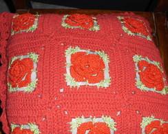 capa para almofada vermelha em barbante